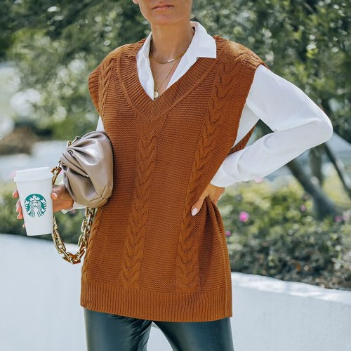 Hot European and American Women's Clothing 2021 Autumn and Winter New Knitted Sleeveless Vest Sweater Vest for Women