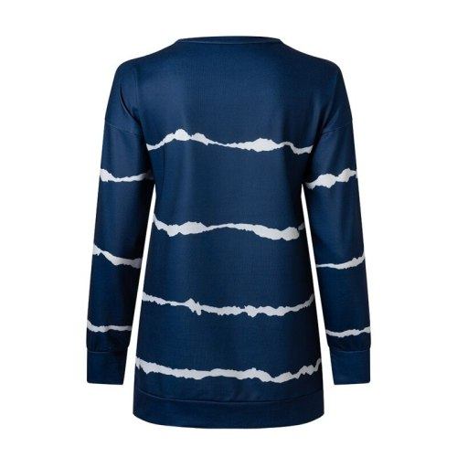 Autumn  Women's Shirts Long Dyed Printed Striped Round Neck Loose Long Sleeve T-Shirts