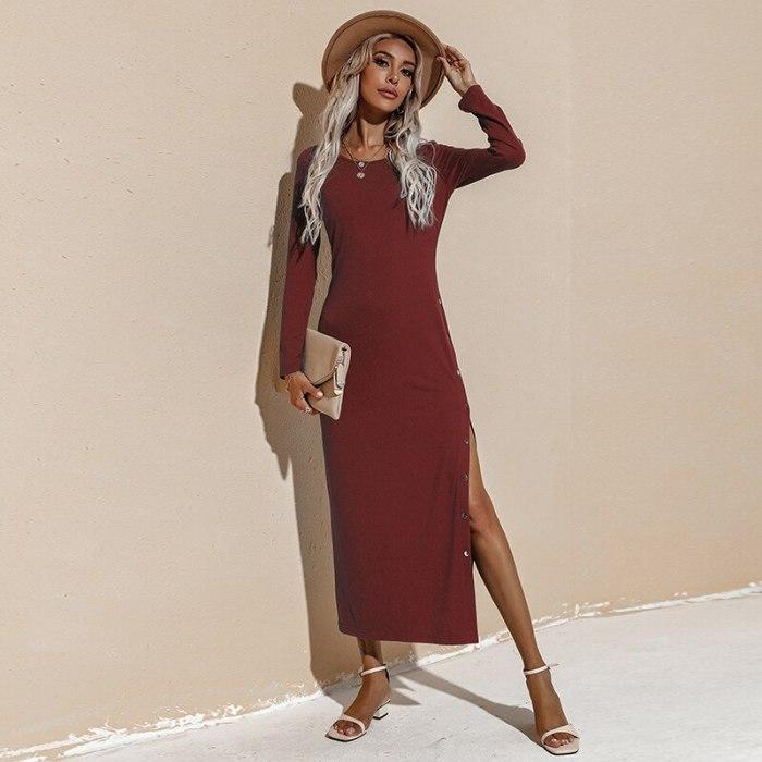 Autumn Winter Dress Women Fashion Long Sleeve Casual Maxi Ladies Dresses Robe Femme 2021 O-neck Split Female Dress Solid Color