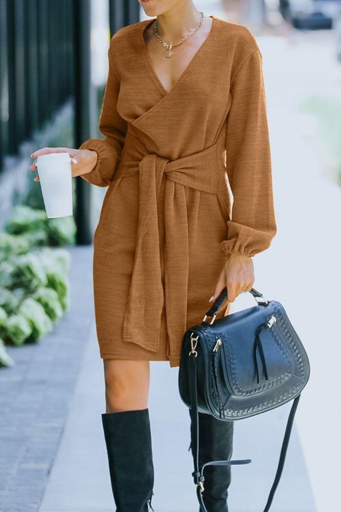 2021 Fashion Vintage Knit Sweater Dress Autumn Winter Pure Color Long Sleeve V Neck Loose Bandage Dresses Knitwear Maxi Vestito