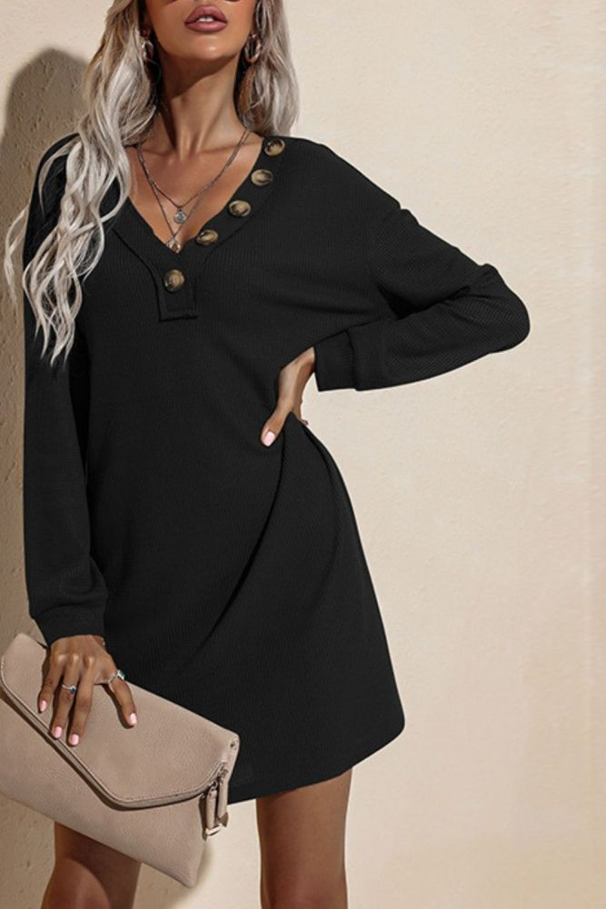 Women'S Autumn Winter European American Clothes Casual Dresses V-Neck Buttoned Hip Knitted Dresses