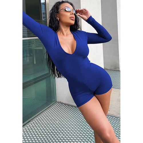 Sexy Coffee Blue Fitness Rompers Womens Jumpsuit Deep V Neck Full Sleeve One Piece Playsuit Streetwear Slim Fit Short Overalls