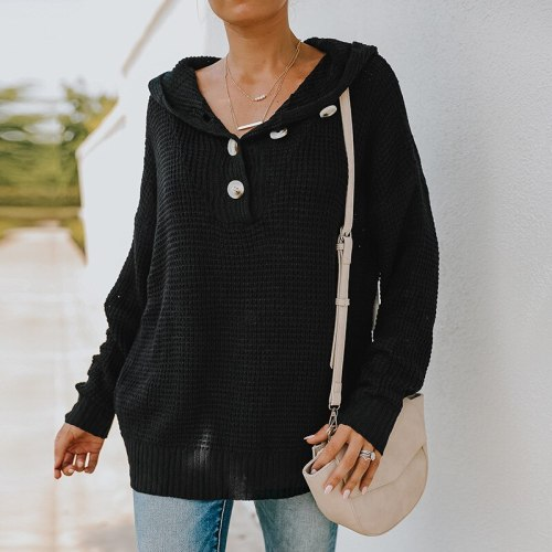 Women's Sweater Elegant Button V-Neck Pullover Women Casual Long Sleeve Ladies Sweater Autumn Winter Office Lady Fashion Loose