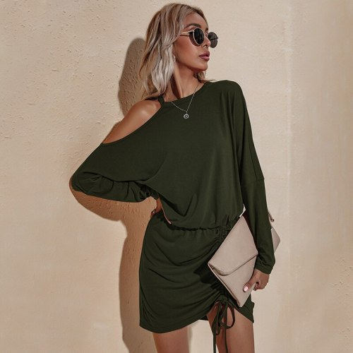 European American women 2021 autumn dress new long-sleeved off-the-shoulder sexy loose-fitting rope party dresses women evening