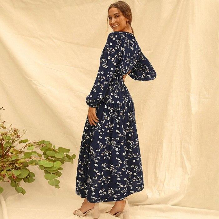 Summer Women's Dress 2021 Long Sleeve Fashion Casual High Waist Maxi Dress Slim Floral Print V Neck Office Lady Dresses Elegant