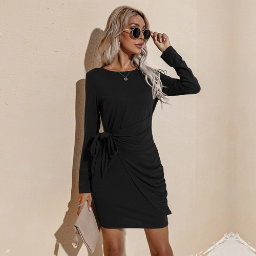 Women Crew Neck Long Sleeves Package Buttock Dress Autumn Winter Solid Color Frenulum Thin Office Dress 2021 New