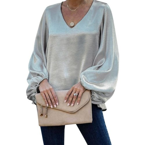 Women T-Shirt 2021 Spring Summer New Solid Color T Shirts Fashion V-Neck Long Sleeve Tops Female Casual Loose All-Match Tees