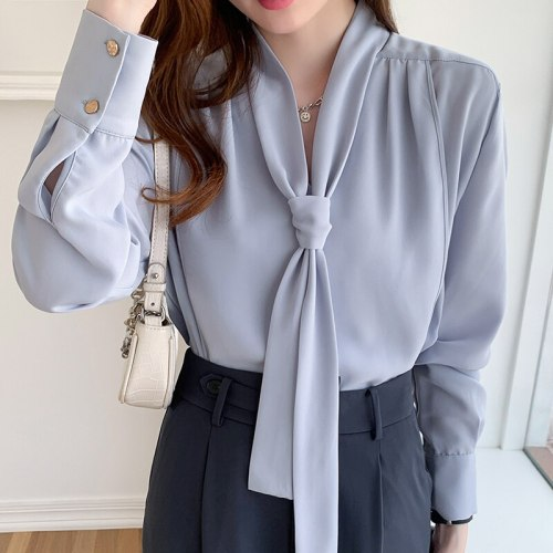 2021 Autumn Chiffon Womens Blouses Long-sleeve Temperament Office Lady Shirts Womens Tops and Blouses Blusas Mujer