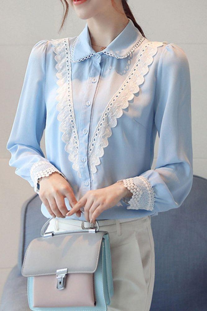 Stitching Chiffon Shirt Temperament Slim Top Women's Wild Long-sleeved 2021 Autumn New Women's