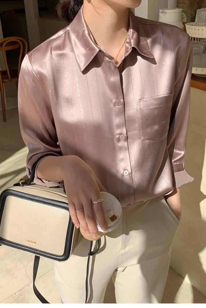 2021 Spring New Women's Shirt Acetate Satin High-Sense Shirt Striped Single-breasted Women's Shirt