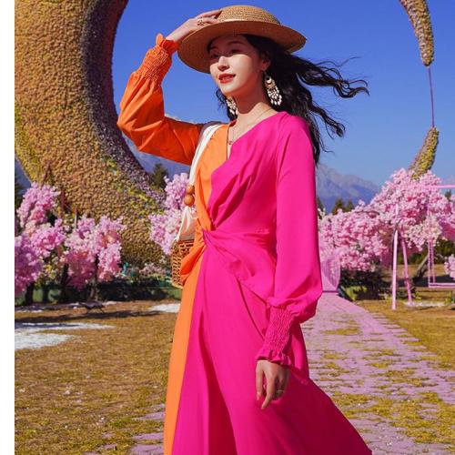 V-Neck Contrast Color Fringe Asymmetry Dress
