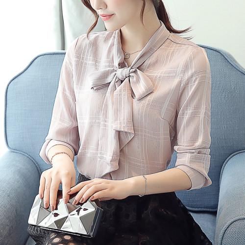 New 2021 Autumn Women Chiffon Blouse Ladies Plaid Elegant lacing Collar Bow Tops Female Casual Long Sleeve OL Office Shirt