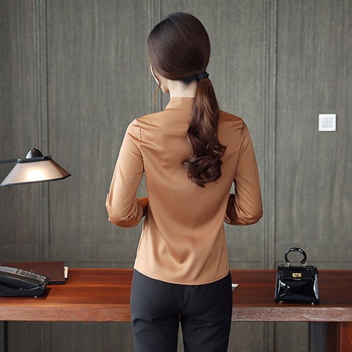 Women Satin Blouse Button Long Sleeve White Brown Stand Bow Tie Lace Up Ladies Office Work Elegant Female Satin Blouses Shirts