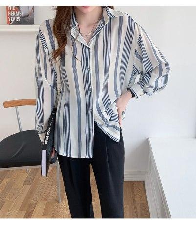 2021 autumn new design sense niche loose striped shirt women long-sleeved temperament chiffon shirt top