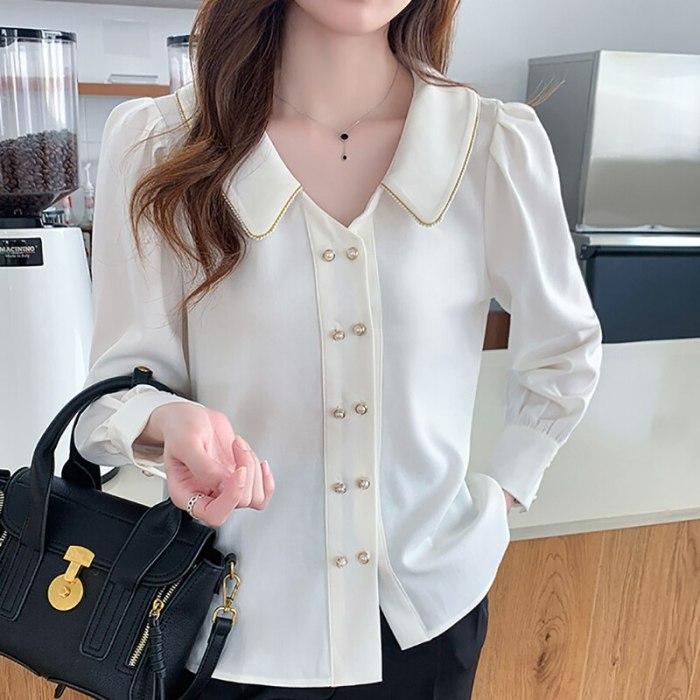White Shirt Women Elegant Peter pan Collar 2021 Autumn Long Sleeve Fashion Double Breasted Casual Chiffon Blousee Blusas Mujer
