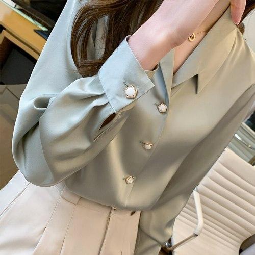 Korea Ladies Satin Silk Blouse Top Ladies Long Sleeve Blouse Top White Ladies Top Ladies Beaded Blouse Top