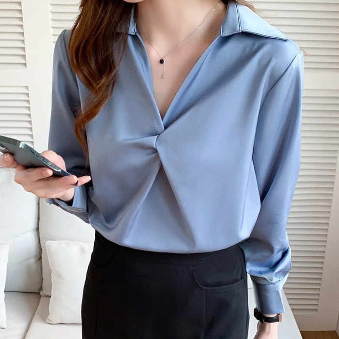 Spring Autumn Korean 2021 Fashion Womens Tops and Blouses Women Blouses Long Sleeve Folds Solid Office Lady Shirts Ladies Tops