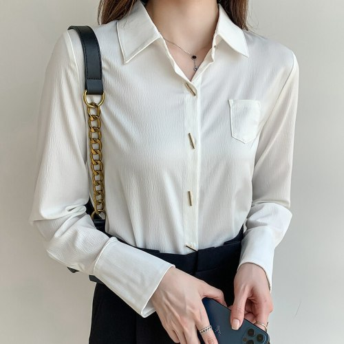 2021 Autumn New Chiffon Women Shirt Long Sleeve Office Lady Button Up Shirt Temperament Ladies Tops Camisas De Mujer
