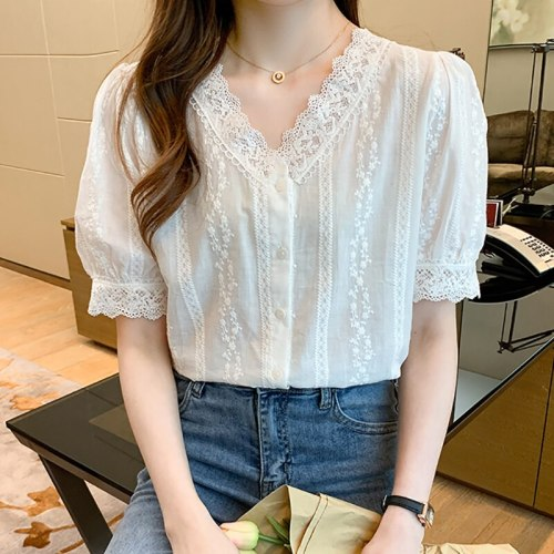 V-Neck Lace Button White Shirt Women Clothes 2021 Summer Tops England Style Short Sleeve Womens Blouses Shirts Chemisier Femme