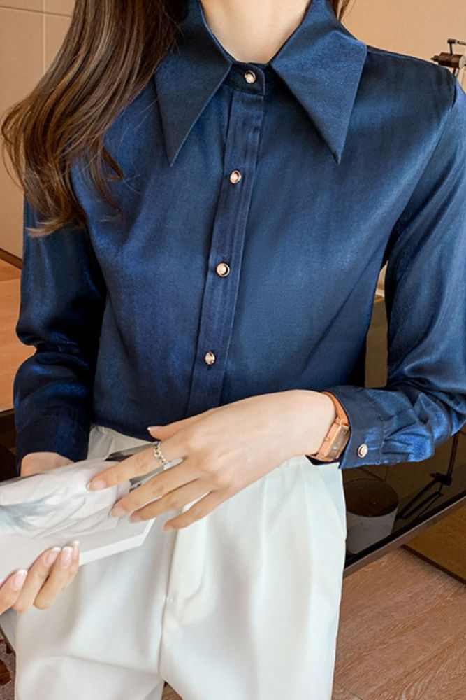 Korean Women Shirts Satin Blouses Women Long Sleeve Shirts Tops Woman Silk Shirt Tops Woman Peter Pan Collar Satin Blouses