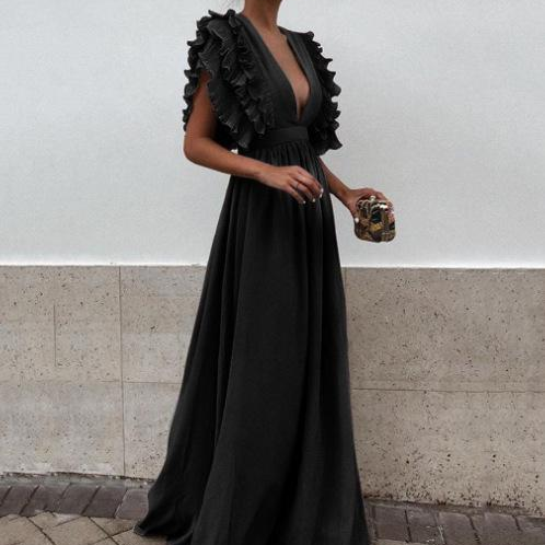 Sexy V Neck Sleeveless Evening Party Dress