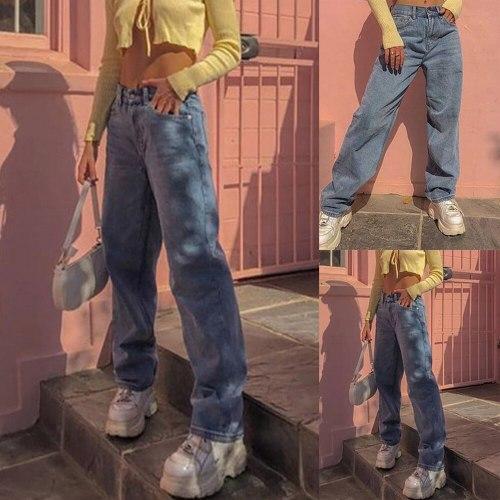 2021 Women New Spring E-Girl Vintage Fashion Slim Denim Streetwear Light Blue Straight Jeans High Waist Loose Pants