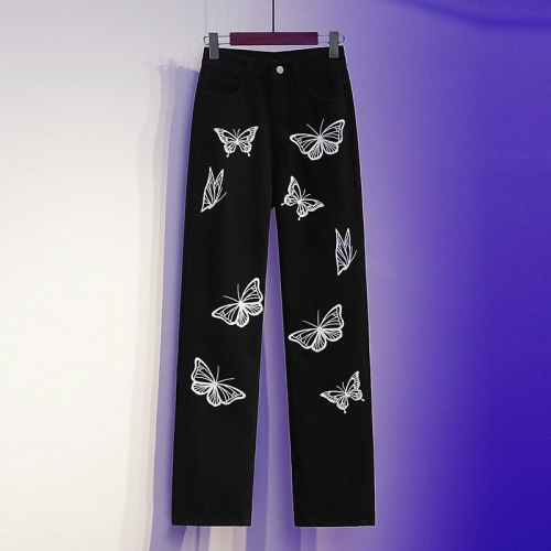 2021 New Fashion Butterfly Print Straight Jeans Women's Large Waist Wide Lleg Street Style Black Jeans For Girl
