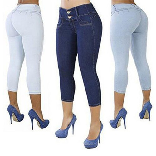 Women's Jean-like Package Hip   Pant Slims Solid Color High-waist Elastic Seven-cent Pants Cotton Blend Casual Wearing 2021 New