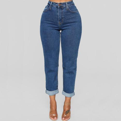Women Jeans Plus Size Casual high waist summer Autumn Pant Slim Stretch Cotton Denim Trousers for woman Blue Plus Size