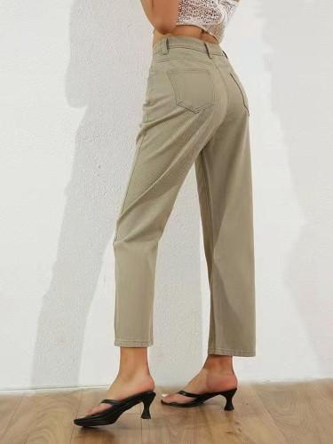 Khaki Jeans Elegant Chic Unique Jeans