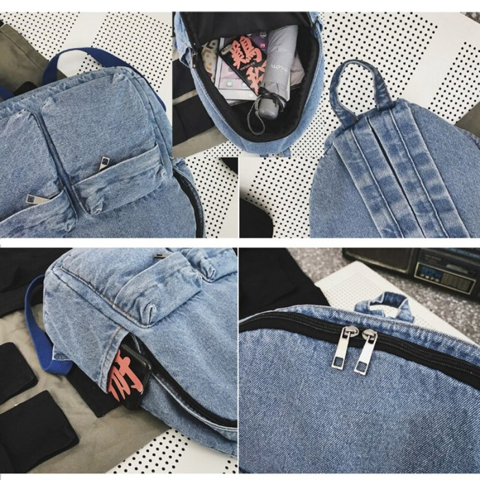 School Backpacks for Women Mens Canvas College Backpack Classic Denim Student Satchel School Bag Jeans Travel Purse Daypack Blue