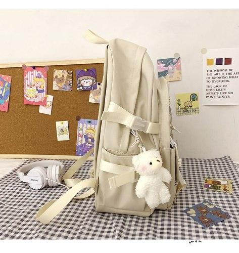 Female Sweet Backpack Ladies Cute Pendant Nylon Student School Bag Women Large Capacity Kawaii Bag Girls Transparent PVC Ita Bag
