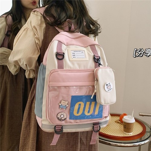 New Hit Color Waterproof Nylon 2021 Fashion Women Backpack Female Multiple Pockets Color Contrast Travel Bag Lady's Schoolbag