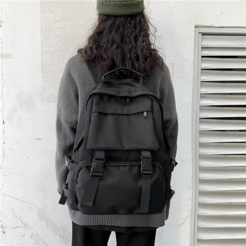 Black Backpack Women Casual Travel Bagpack High Quality Female Rucksack Large Capacity Solid Color Simple Style Mochila