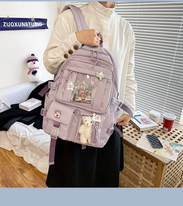 Schoolbag female junior high school students Korean version large capacity campus personality
