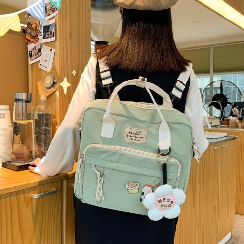 Lovely Multifunctional Backpack Teenage Girl Ring buckle Portable Travel Bag Female Small Schoolbag Badge Women Backpacks