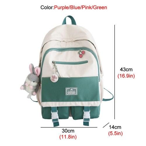 New Contrast Color Waterproof Nylon Women Backpack Female Multi-pocket Big Schoolbag Teenage Girls Lovely Travel Bag