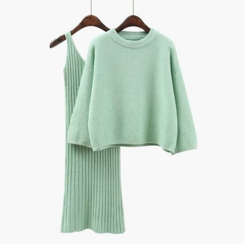 Loose Sweater Set Women's Fashion Two-piece Skirt 2021 Spring Autumn Solid Pullover