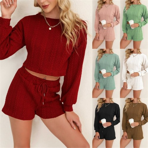 Long Sleeve sexy sweat short Pants Casual Women cloth sports Suit two pieces fashion O-neck tops home solid suits Sets