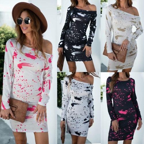 Spring Autumn New Splash ink Print Long Sleeve Mini Dress Women Sexy Off Shoulder Casual Slim Package Hip Party Vestidos Female