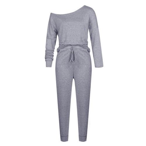 Women Long Sleeve Off Shoulder 2 Piece Set Autumn Winter New Solid Casual Loose T-shirt+Trouser Suit Streetwear Drawstring Femme