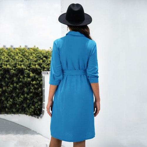Women Dresses New Arrival 2021 Fall 3/4 Long Sleeve Single Breasted Shirt Dress Elegant Ladies Formal Work Dress Blue Black Navy