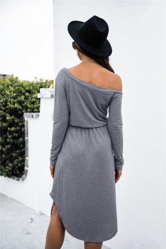 Autumn New Cotton Sexy Off Shoulder Midi Dress Women Solid Casual Slim Drawstring High Waist Pocket Split Asymmetrical Vestidos
