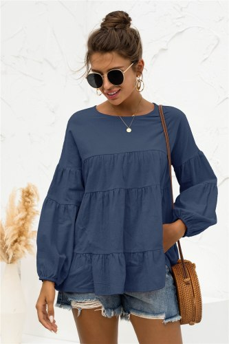New Autumn Women Casual O-neck Latern Sleeve Loose T-shirt Hollow Out Solid Pullover Top