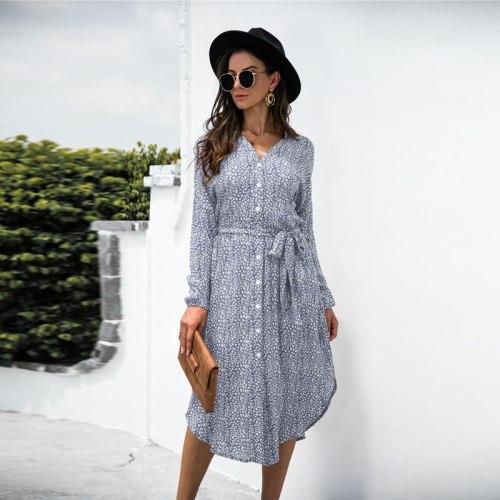 Long Sleeve Dresses for Women Bohemian Autumn Clothes Leopard Print Shirt Dress High Waist Lace Up Casual Midi Sundress Vestidos