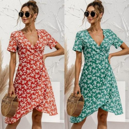 Woman Sweet Floral Dress Irregular Knee-Length Midi Dress Sexy V-Neck Short Sleeve Summer Women's Dress 2021 Robe Femme Vestidos