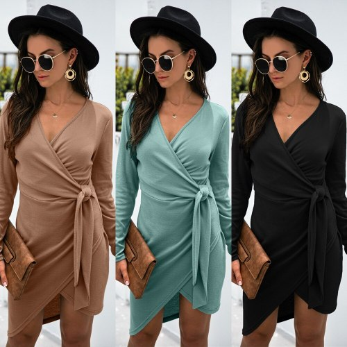 Bodycon Dress Fall 2021 New Product V-Neck Tie Long Sleeve Solid Color Irregular Dress Office Lady Slim Short Dresses Streetwear
