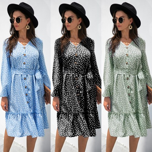 Ladies Ruffle Stitching Knee-Length Dresses For Women 2021 Spring And Autumn Button V-Neck Long-Sleeved Polka-Dot Dress Femme