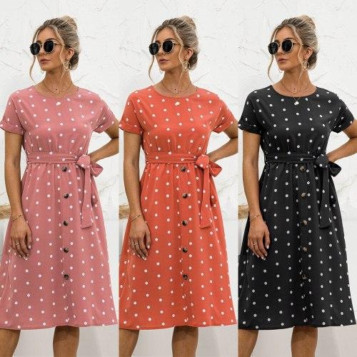 Women Summer Beach Chiffon Dress Casual Short Sleeve Polka Dot Dress Midi Dress Femme Vestidos Elegant O Neck Sundress With Belt