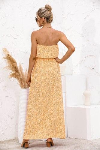 Elegant Floral Print Strapless Dress Women Sexy Off Shoulder Backless Split Robe High Waist Holiday Summer Long Vestidos